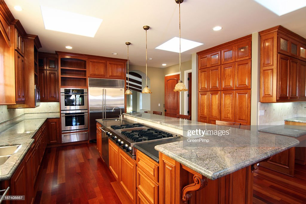 New All Wood And Marble Luxury Kitchen