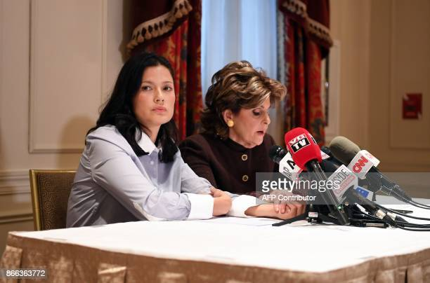 New alleged victim of film producer Harvey Weinstein actor and model Natassia Malthe and her Attorney Gloria Allred speak during a press conference...