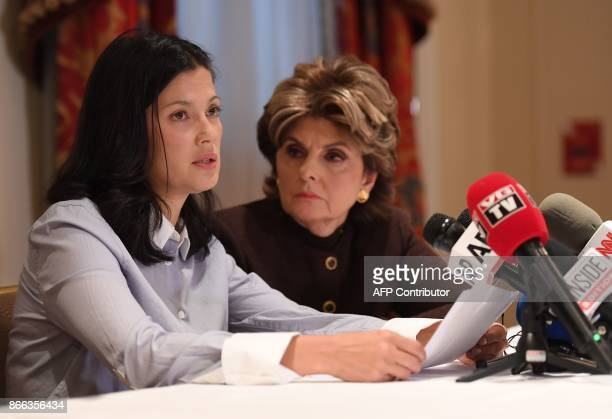 New alleged victim of Harvey Weinstein actor and model Natassia Malthe and Attorney Gloria Allred speak during a press conference held at Lotte New...