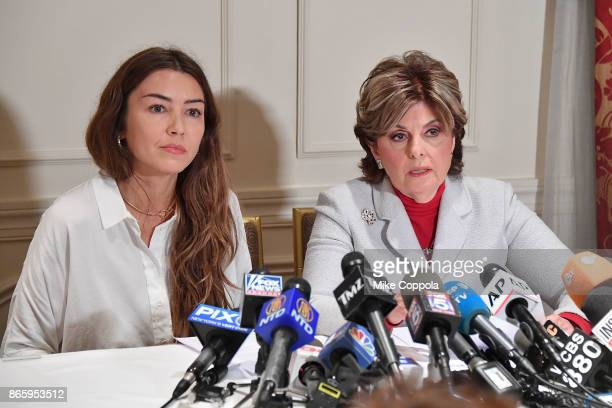 New alleged victim of Harvey Weinstein Mimi Haleyi and Attorney Gloria Allred speak during a press conference held at Lotte New York Palace on...