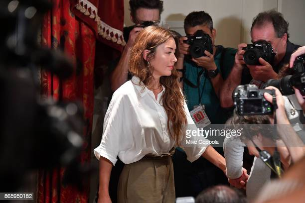 New alleged victim of Harvey Weinstein Mimi Haleyi leaves a press conference held by Attorney Gloria Allred at Lotte New York Palace on October 24...