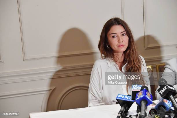New alleged victim of Harvey Weinstein Mimi Haleyi speaks at a press conference held by Attorney Gloria Allred at Lotte New York Palace on October 24...