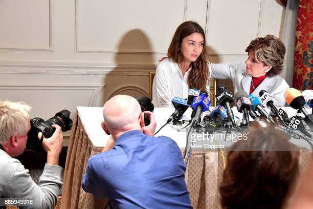 New alleged victim of Harvey Weinstein Mimi Haleyi speaks during a press conference held by Attorney Gloria Allred at Lotte New York Palace on...