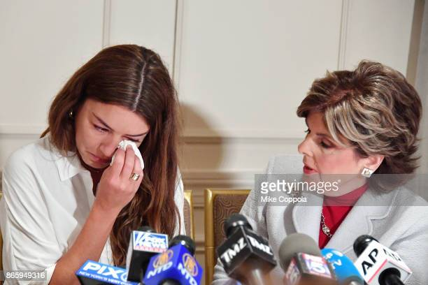 New alleged victim of Harvey Weinstein Mimi Haleyi wipe away a tear at a press conference held by Attorney Gloria Allred at Lotte New York Palace on...