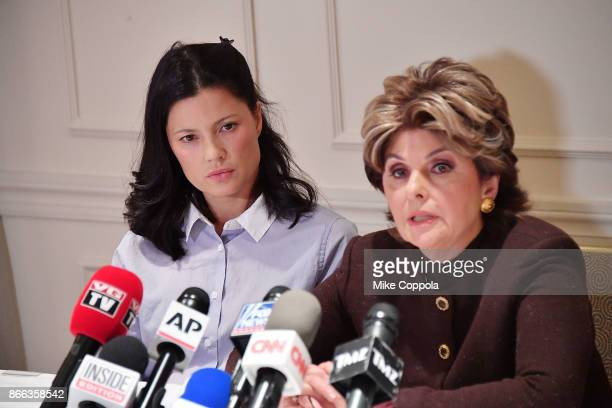 New alleged victim of Harvey Weinstein Natassia Malthe and Attorney Gloria Allred speak during a press conference held at Lotte New York Palace at...