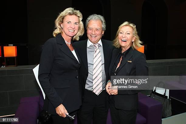 New ambassadors for the Jose Carreras Leukaemia foundation Hera Lind HansJuergen Baeumler and Sabine Christiansen attend the announcement ceremony on...