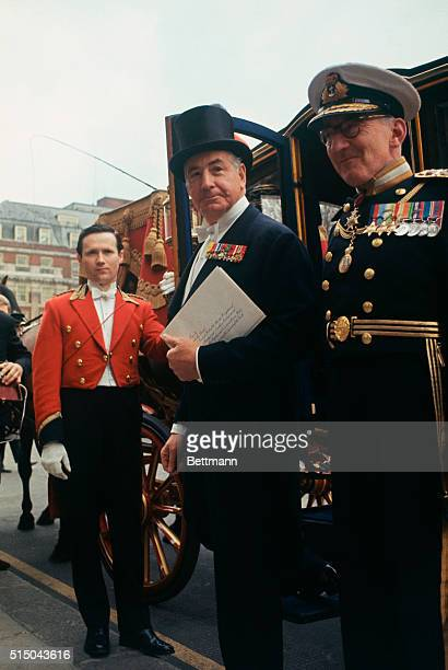 New American Ambassador to London, Walter Annenberg, steps into a State landau, 4/29, outside the U.S. Embassy in Governor Square. With him for the...