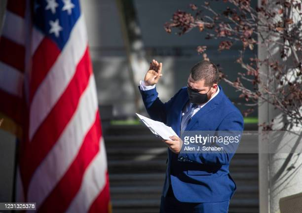 January 21: New American citizen Angel Franco, originally from El Salvador and now living in West Covina, takes his citizenship oath of allegiance...