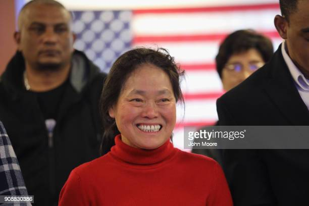 New American citizens take part in a naturalization service on January 22 2018 in Newark New Jersey Although much of the federal government was shut...