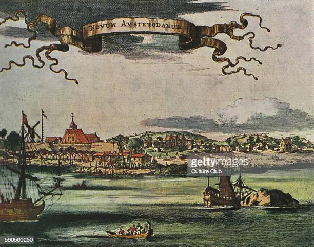 New Amsterdam 17th century view Dutch settlement established at the southern tip of Manhattan Island United States Renamed New York in 1664 by...