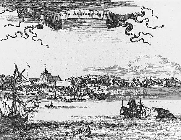 New Amsterdam engraving 1660 North America 17th century