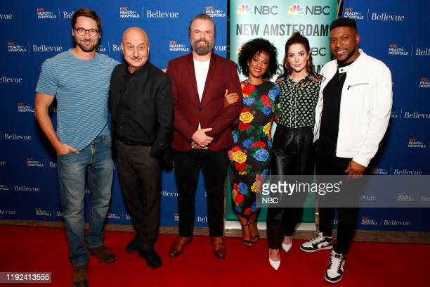 NEW AMSTERDAM New Amsterdam viewing party at Bellevue Hospital in New York City on September 24 2019 Pictured Ryan Eggold Anupam Kher Tyler Labine...