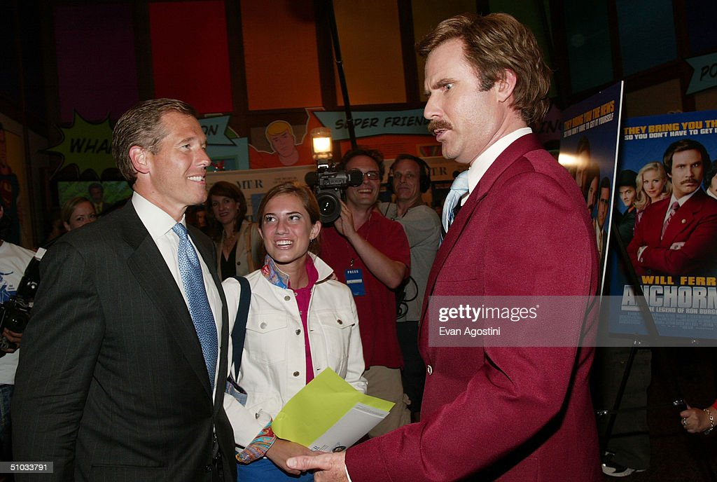 New Anchor Brian Williams and his daughter Allison chat with actor Will Ferrell aka Ron Burgundy after a special screening of the film 'Anchorman: The Legend of Ron Burgundy' at the Museum of Television and Radio July 7, 2004 in New York City.