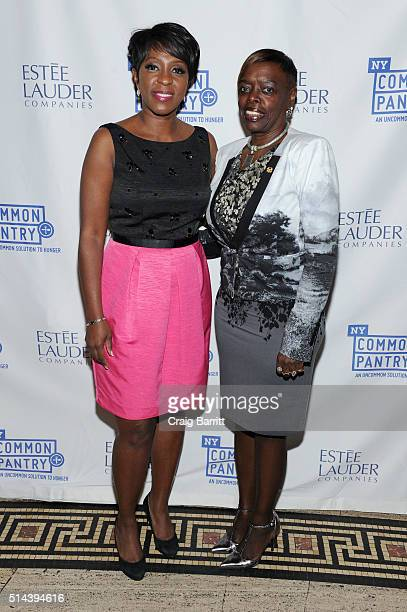 New anchor Cheryl Wills and Senior Vice President Affairs Manager for the Wells Fargo Foundation Deborah Smith attend the New York Common Pantry's...