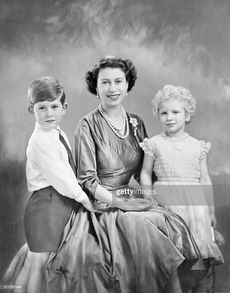 a new and charming study of queen elizabeth ii and her children prince charles and - Young Children Pictures