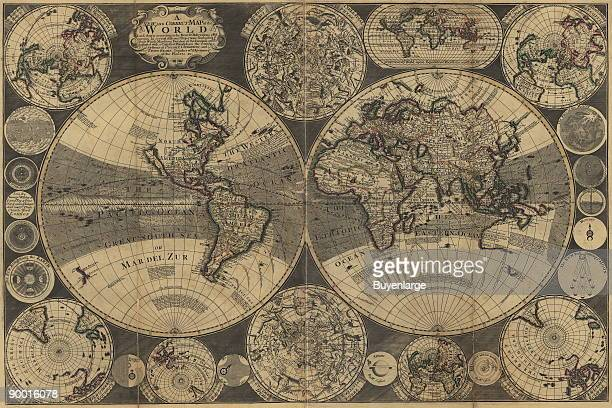 A new and correct map of the world laid down according to the newest observations discoveries in several different projections including the trade...
