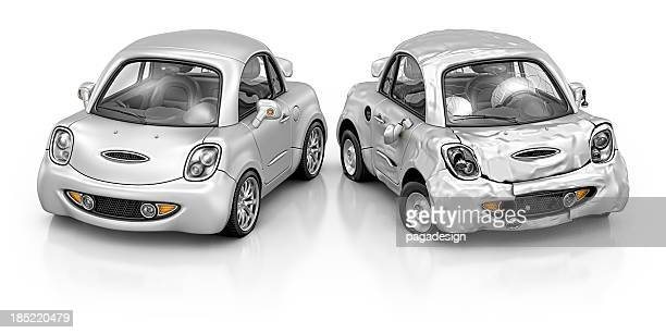new and damage car - graphic car accidents stock pictures, royalty-free photos & images