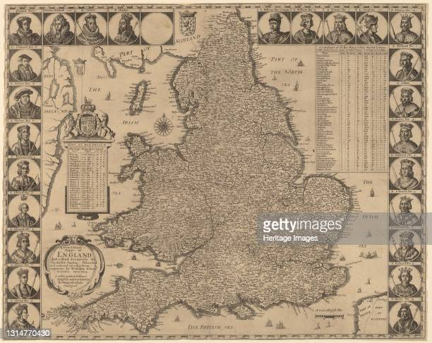 New and Exact Mappe of England, 1644. Artist Wenceslaus Hollar.