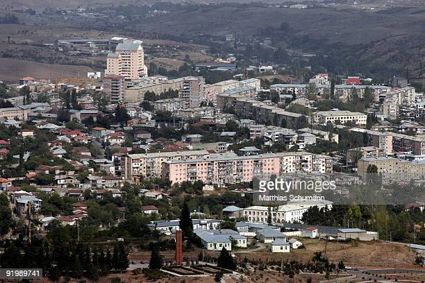 New and old appartment buildings are seen on September 24, 2007 in Stepanakert, Nagorno-Karabakh, Azerbaijan. Stepanakert is the largest city and...