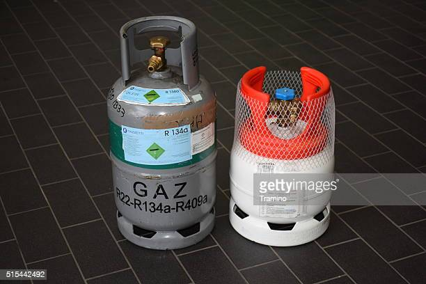 New and old refrigerant to vehicle air conditioning in containers