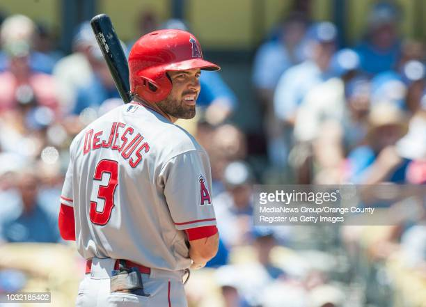 New Angel outfielder David DeJesus prepares to bat during the Halos loss Saturday INFO angels0802kjs Photo by KEVIN SULLIVAN / Orange County Register...
