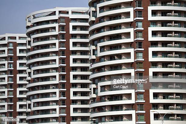 New apartment buildings are pictured on October 26 2016 in Erbil Iraq As the offensive by Iraqi and Kurdish forces to drive Islamic State out of...
