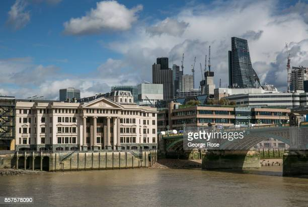 New apartments and office space along The River Thames near Blackfriars Bridge is viewed on September 13 in London England Great Britain's move...