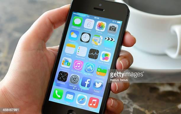 Nouveau Apple système d'exploitation iOS 7 sur l'iPhone 5