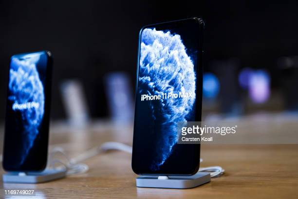 New Apple iPhone 11 are shown in a Apple store on the first day of the phone's sale at the Apple Store on September 20, 2019 in Berlin, Germany. The...
