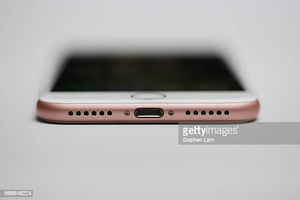 A new Apple iPhone 7 is seen during a launch event on September 7 2016 in San Francisco California Apple Inc unveiled the latest iterations of its...