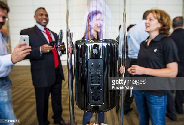 A new Apple Mac Pro is displayed during the 2013 Apple WWDC at the Moscone Center on June 10 2013 in San Francisco California Apple introduced a new...