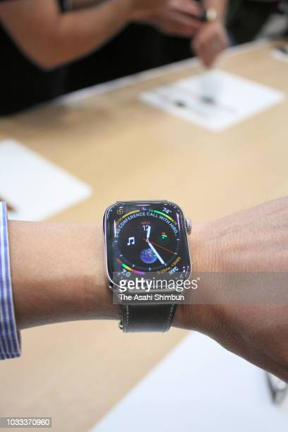 New Apple Watch is displayed at an Apple event at the Steve Jobs Theater at Apple Park on September 12 2018 in Cupertino California Apple released...