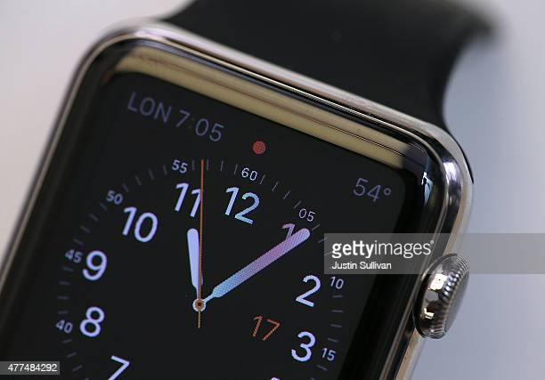 A new Apple Watch is displayed at the Apple Store on June 17 2015 in San Francisco California Apple began selling the Apple Watch in its stores...