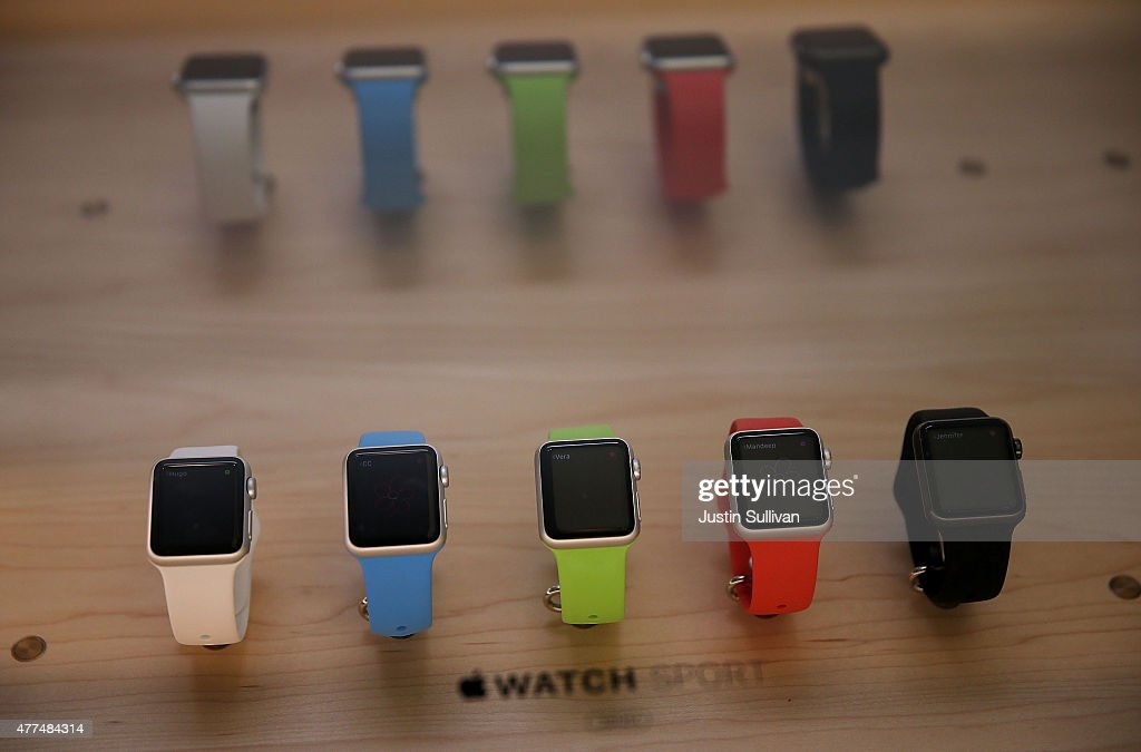 A new Apple Watch is displayed at the Apple Store on June 17, 2015 in San Francisco, California. Apple began selling the Apple Watch in its stores Wednesday with their reserve and pick up service. Previously the product could only be ordered online.