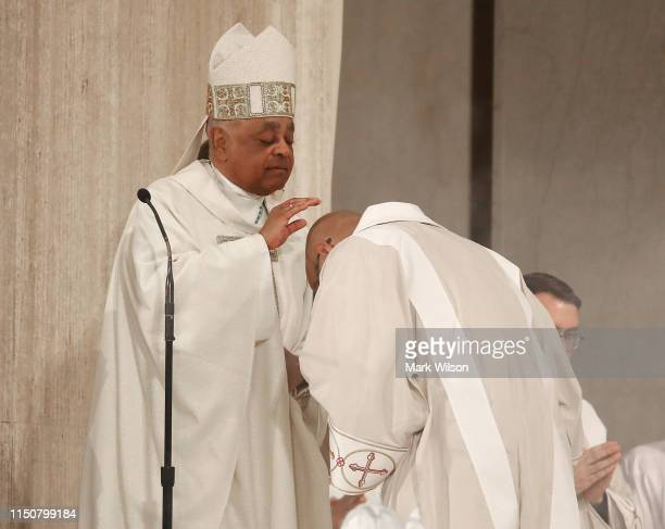 New Archbishop of Washington Wilton D Gregory participates in his Installation mass at the National Shrine of the Immaculate Conception on May 21...