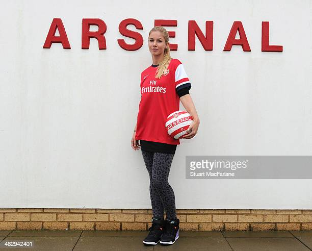 New Arsenal Ladies signing Anouk Hoogendijk at London Colney on January 15 2014 in St Albans England