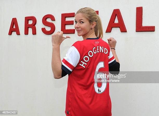 New Arsenal Ladies signing Anouk Hoogendijk poses at London Colney on January 15 2014 in St Albans England