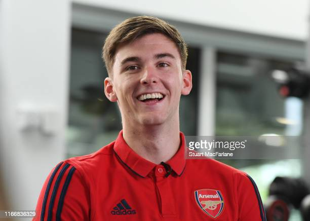 New Arsenal signing Kieran Tierney at London Colney on August 08 2019 in St Albans England