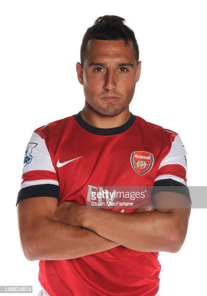 New Arsenal signing Santi Cazorla poses at Arsenal Training Ground, London Colney on August 6, 2012 in St Albans, England.