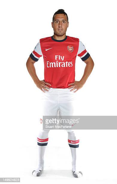 New Arsenal signing Santi Cazorla poses at Arsenal Training Ground London Colney on August 6 2012 in St Albans England