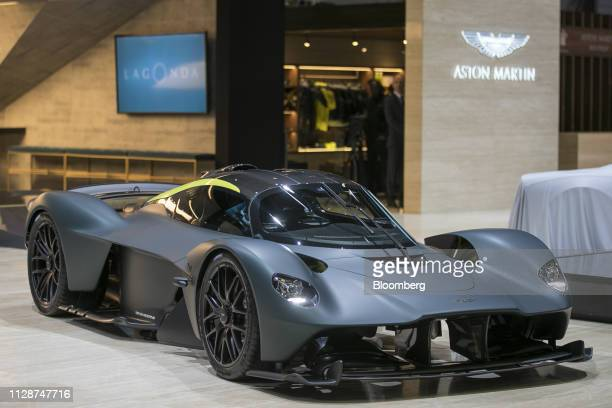 A new Aston Martin Lagonda Global Holdings Plc Valkyrie luxury hypercar sits on display on the opening day of the 89th Geneva International Motor...
