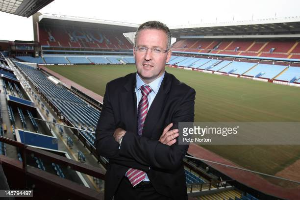 New Aston Villa manager Paul Lambert poses at Villa Park during a press conference to announce his appointment at Villa Park on June 6 2012 in...