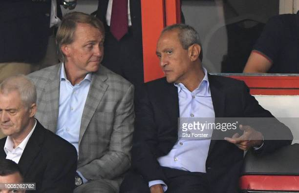 New Aston Villa owners Nassef Sawiris and Wes Edens look on during a friendly match between Aston Villa and West Ham United at Banks' Stadium on July...