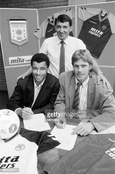 New Aston Villa signings with manager Graham Taylor Left to right Paul McGrath Graham Taylor and Kent Nielsen 24th July 1989