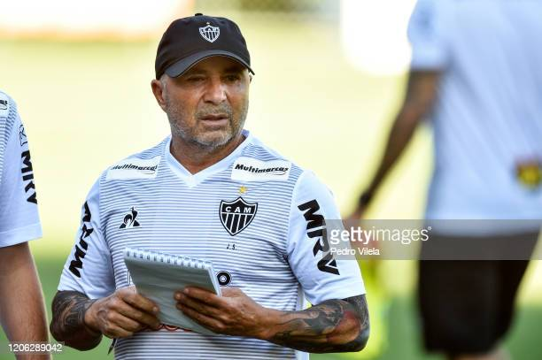 New Atletico MG coach Jorge Sampaoli looks on during a training session after his unveiling at Atlético MG's training center on March 9, 2020 in...