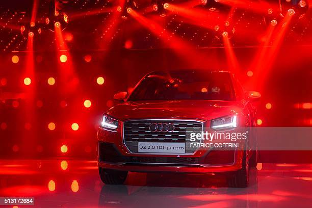 A new Audi Q2 model car is displayed at the stand of German carmaker during the press day of the Geneva Motor Show on March 1 2016 in Geneva More...