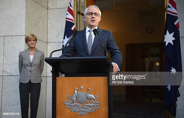 New Australian Prime Minister Malcolm Turnbull announces his new cabinet at a press conference as Minister for Foreign Affairs Julie Bishop looks on...