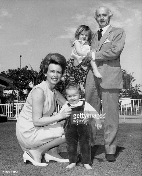 New Australian Prime Minister William McMahon posing with his wife and children, Melinda and Julian, following the resignation of John Gorton,...