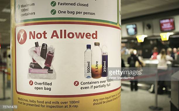 New baggage security rules are displayed at terminal three on December 6 2006 at London's Heathrow airport Passengers are being invited to take part...