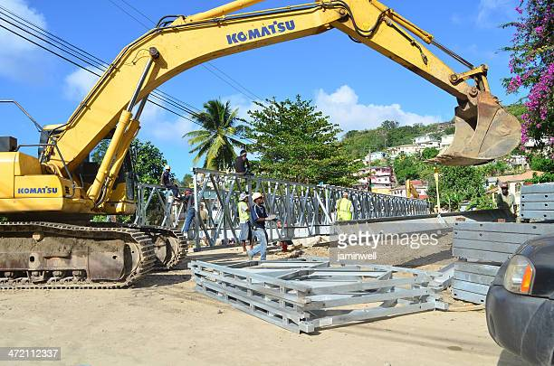 new bailey bridge erected in canaries after christmas eve trough - komatsu stock pictures, royalty-free photos & images